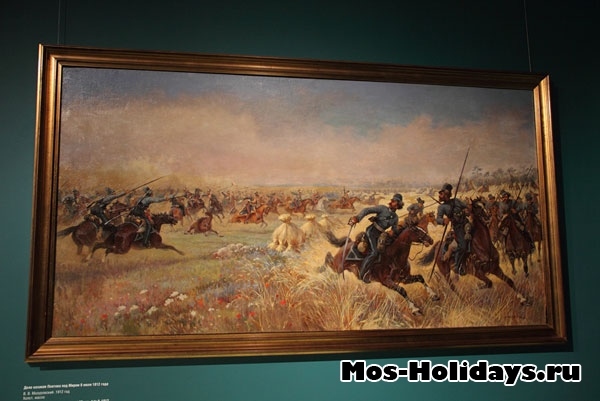 Дело казаков Платова под Миром 9 июля 1812 г., картина из музея-панорамы Бородинская битва