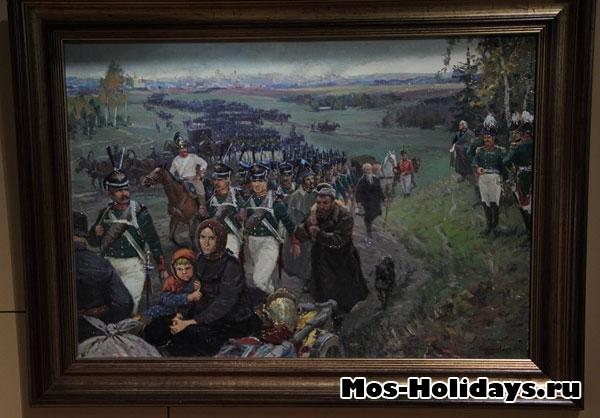 Русская армия и жители оставляют Москву, картина из музея-панорамы Бородинская битва