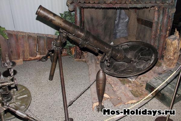 Миномёт, который использовался советскими войсками при битве за Днепр. Центральный музей вооружённых сил.