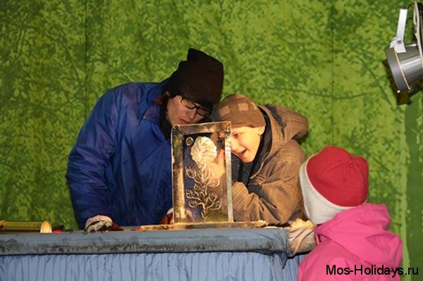 Мастер клас по созданию ледовых скульптур в парке на Красной Пресне