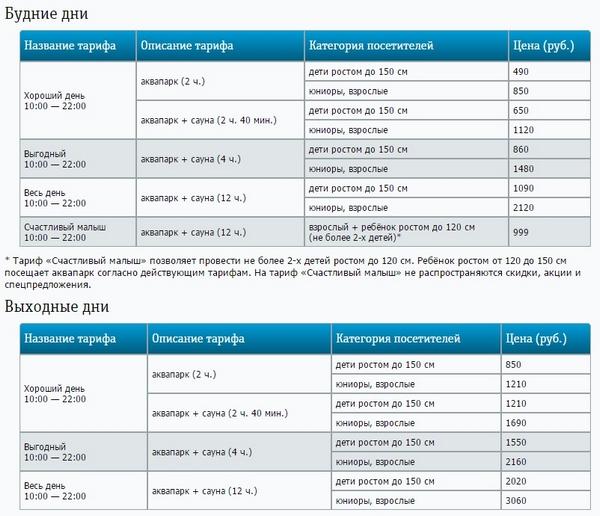 Цены в Ква Ква парке на Ярославском шоссе в Мытищах