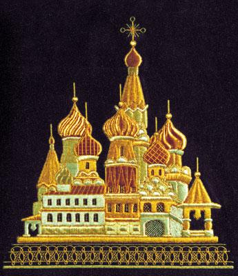 Ковёр с изображением дворца, вышитый золотыми нитями