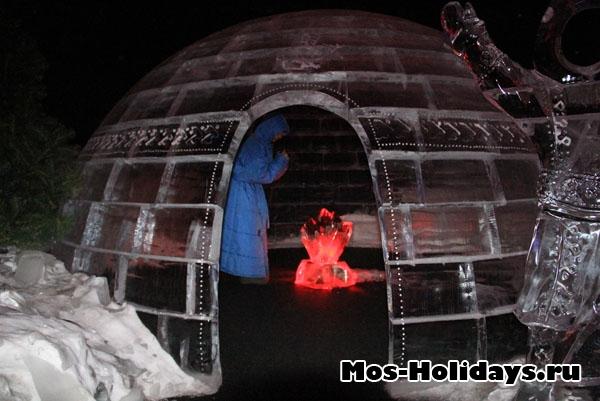 Эскимосский иглу на выставке ледяных фигур в Сокольниках