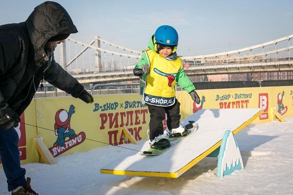 Школа сноуборда для детей в парке искусств Музеон