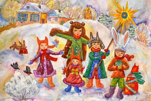 Выставка детских рисунков «Гуляют ребятки в зимние святки»