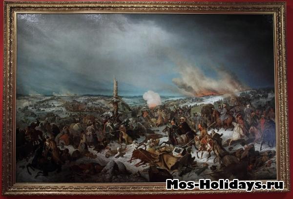 Переправа французской армии через реку Березину. Картина из музея Бородинская панорама