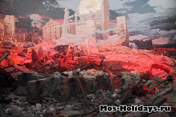 Диорама Сталинграда во время ВОВ. Центральный музей вооружённых сил