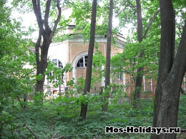 Неизвестное здание в парке Кузьминки, скрытое за деревьями