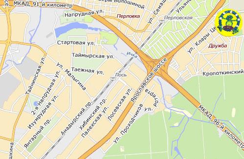 Карта проезда в Ква Ква парк на Ярославском шоссе в Мытищах