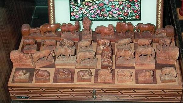 Монгольские шахматы в музее шахмат Москвы