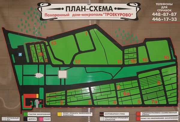 Троекуровское кладбище, план-схема