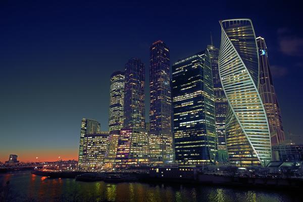 Ночная Москва с 56-го этажа площадки «Москва-Сити»